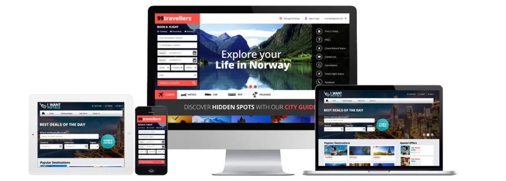 travel portal responsive layout